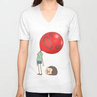 balloon V-neck T-shirts featuring balloon by cedricel