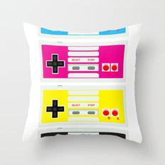CMYK Retro Gamer  Throw Pillow