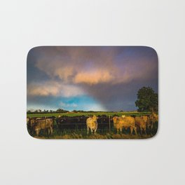 Bovine Shine - Cattle Gather on Stormy Day in Kansas Bath Mat