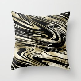 Chic modern abstract black gold stylish marble Throw Pillow
