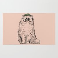 persian Area & Throw Rugs featuring Hipster Persian Cat by Huebucket
