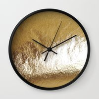 gold foil Wall Clocks featuring Gold Foil by The Wellington Boot