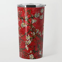 Abstract Daisy With Red Background Travel Mug