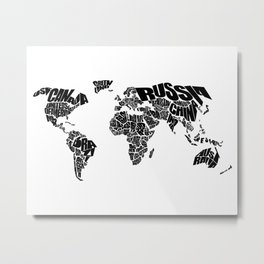 World Word Map - Black and White Metal Print