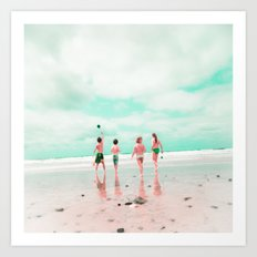 Four & the Beach Art Print