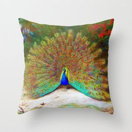 Archibald Thorburn - Peacock and Peacock Butterfly - Digital Remastered Edition Throw Pillow