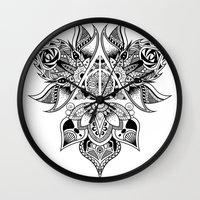 deathly hallows Wall Clocks featuring Deathly Hallows  by KropsGrafik