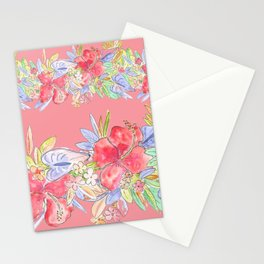 hawaiian flowers red pink Stationery Cards