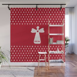 Christmas Angel with hearts on red Wall Mural