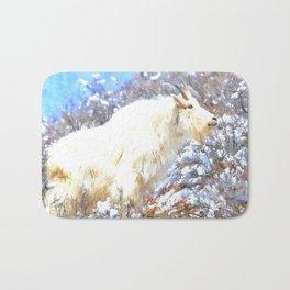 Mountain Goats In the Alpine Wyoming Mountain - Rocky Mountain Goat Bath Mat