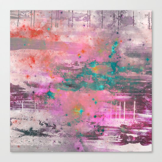 Mystical! - Abstract, pink, purple, red, blue, black and white painting Canvas Print