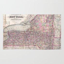 Vintage New York State Railroad Map (1876) Rug