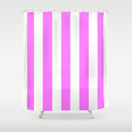 Fuchsia pink - solid color - white vertical lines pattern Shower Curtain