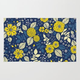 Yellow & Blue Floral Pattern Rug