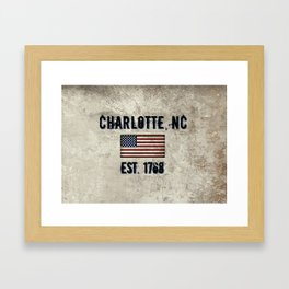 Tribute to Charlotte, NC, EST. 1768 Framed Art Print