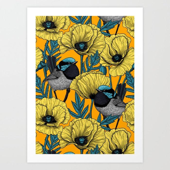Fairy wren and poppies in yellow Art Print