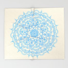 Pale Blue Pencil Pattern - hand drawn lace mandala Throw Blanket