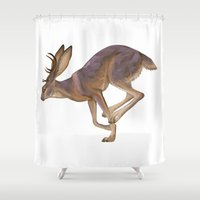 jackalope Shower Curtains featuring Jackalope by Sadé Hickman