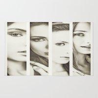 faces Area & Throw Rugs featuring Faces by Kráľ Juraj