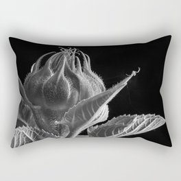 A Sunflower bud is about to open and a Crab Spider waits on the end of a leaf. Rectangular Pillow