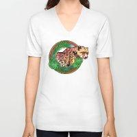 leopard V-neck T-shirts featuring leopard by Elena Trupak