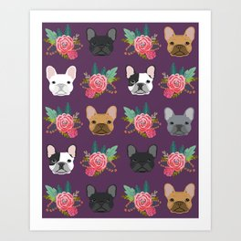 French Bulldog florals cute spring summer dog gifts bright happy frenchie puppy dog portraits  Art Print