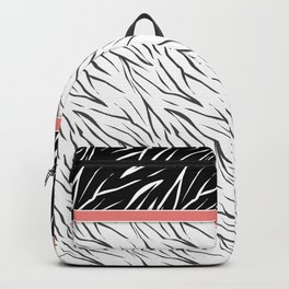 Black and white tiger pattern with pink bow. Backpack