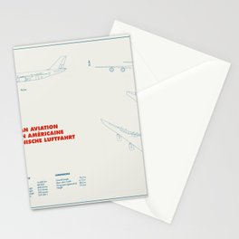 Boeing 747 plane technical drawing Stationery Cards