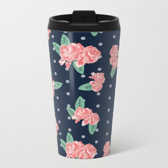 Brooklin - Navy dots floral bouquet minimal boho abstract flowers Metal Travel Mug