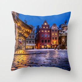 The Old Town Winter Night I Throw Pillow