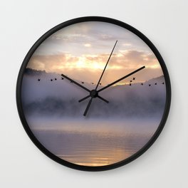 Misty Morning on the Lake Wall Clock