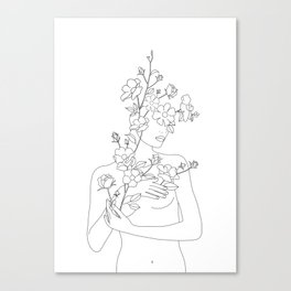 Minimal Line Art Woman with Wild Roses Canvas Print