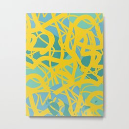Yellow Green Acqua Abstract Organic Pattern Desig Metal Print