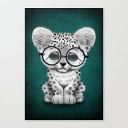 Cute Snow Leopard Cub Wearing Glasses on Teal Blue Canvas Print