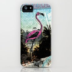 Palm trees and flamingos Slim Case iPhone (5, 5s)