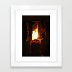 Misan intranced by fire... Framed Art Print