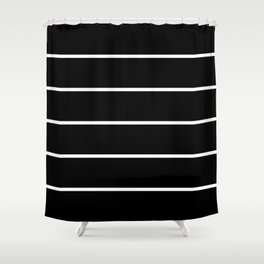 Black White Pinstripes Minimalist Shower Curtain
