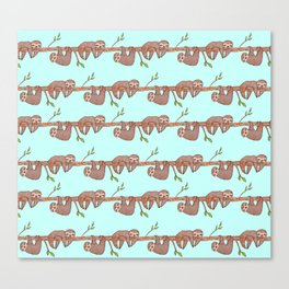 Lazy Baby Sloth Pattern Canvas Print