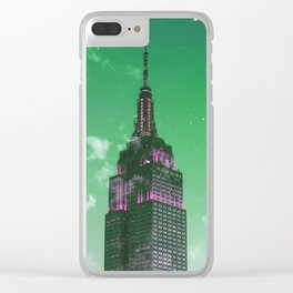 Empire State Building New York City Skyline Green Tones Clear iPhone Case
