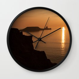 worms head sunset gower Wall Clock