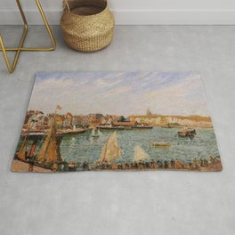 Afternoon Sun The Inner Harbor Dieppe 1902 By Camille Pissarro | Reproduction | Impressionism Painte Rug