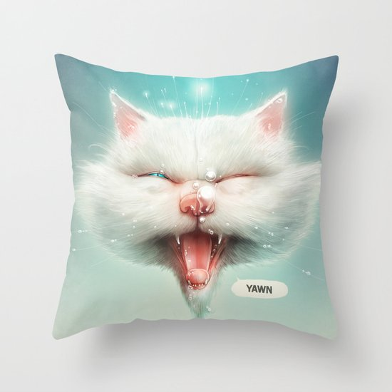 The Water Kitty Throw Pillow