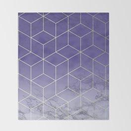 Geometric Marble Ultraviolet Purple Gold Throw Blanket