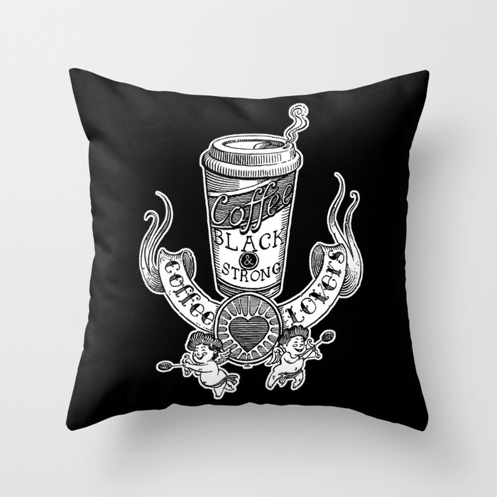 Coffee Lovers (black version) Throw Pillow