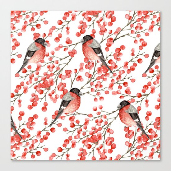 Bullfinch and red berries Canvas Print