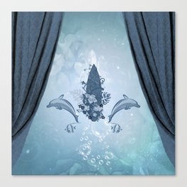Sport, surfboard with dolphin and flowers Canvas Print