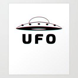 UFO Alien Saucer 3D Anaglyph Art Print