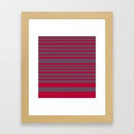 Red & Grey Stripes Framed Art Print