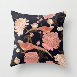 Two Pretty Birds | Chinese Oriental Design | Pink Floral Wildlife |  Throw Pillow