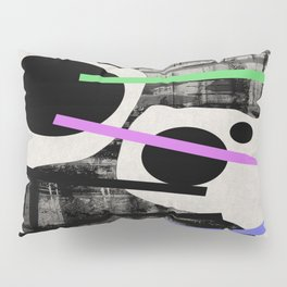 PENSIVE - Eclectic blend of geometric shapes, pastel colours, and black and white textures Pillow Sham